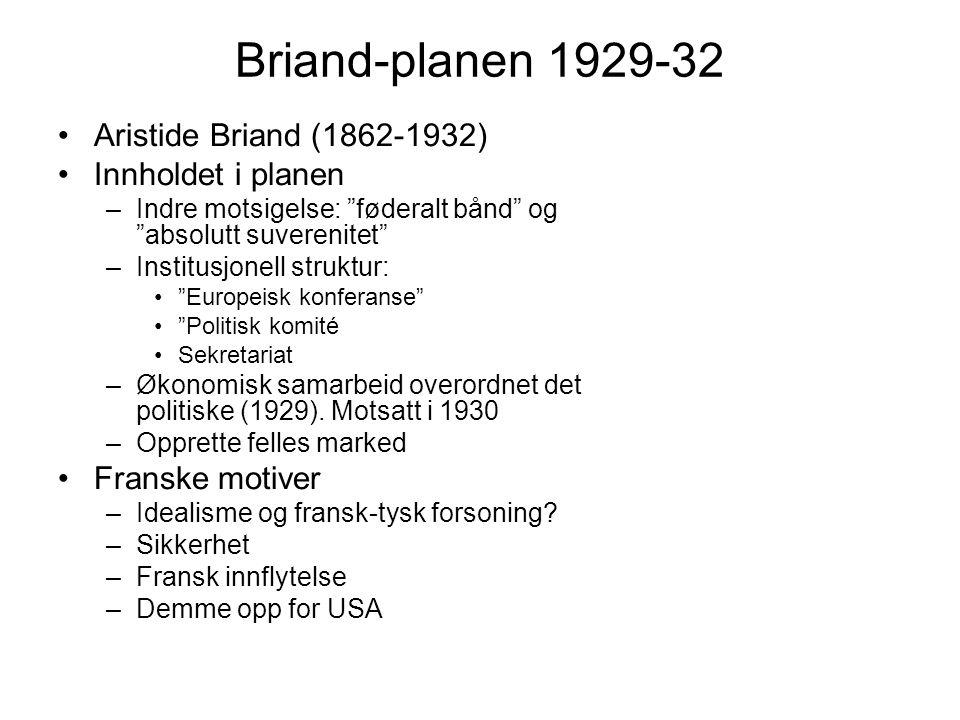 Briand-planen 1929-32 Aristide Briand (1862-1932) Innholdet i planen