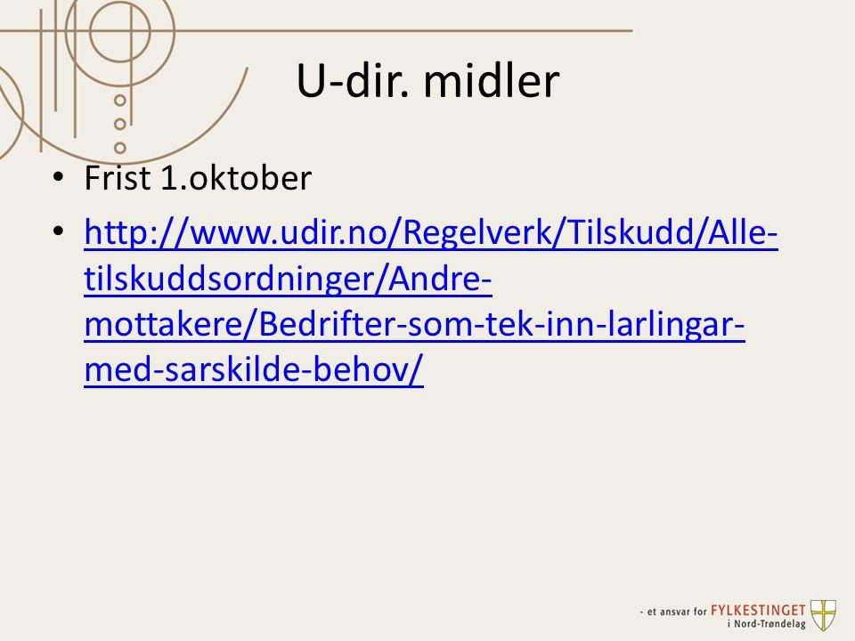 U-dir. midler Frist 1.oktober