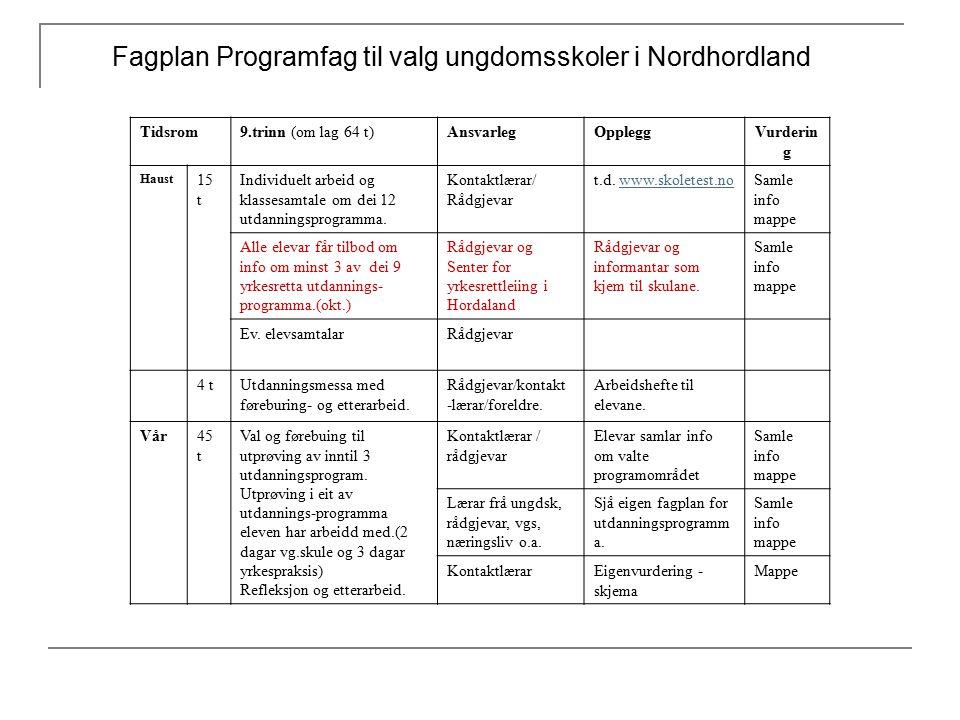 Fagplan Programfag til valg ungdomsskoler i Nordhordland