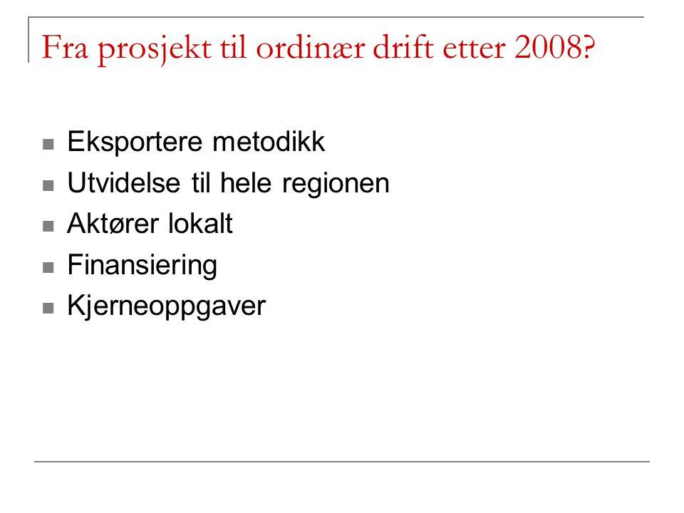 Fra prosjekt til ordinær drift etter 2008