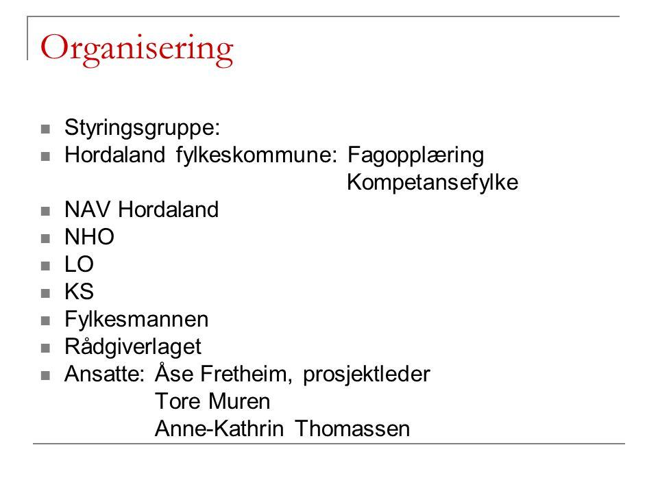 Organisering Styringsgruppe: Hordaland fylkeskommune: Fagopplæring