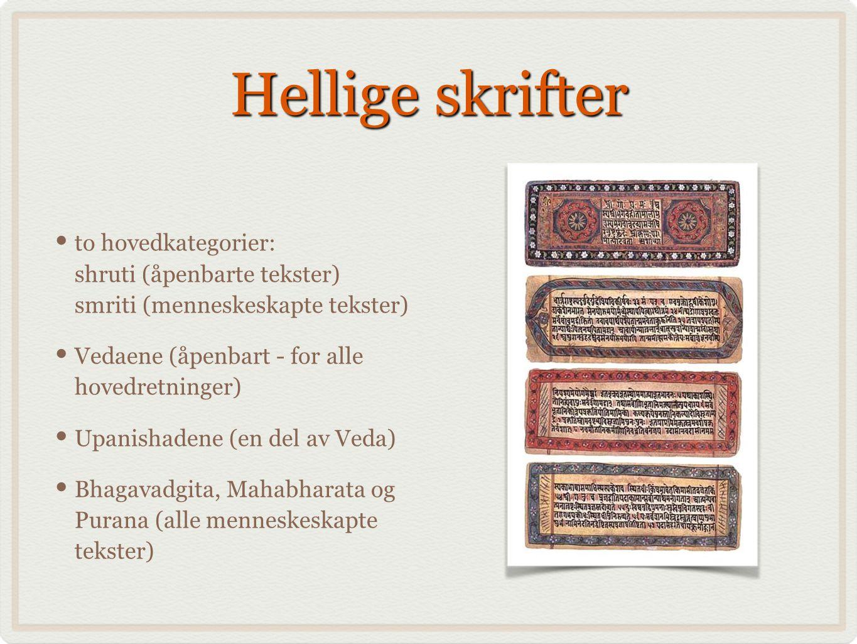 Hellige skrifter to hovedkategorier: shruti (åpenbarte tekster) smriti (menneskeskapte tekster) Vedaene (åpenbart - for alle hovedretninger)