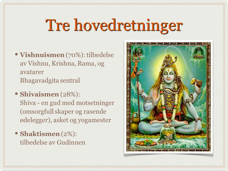 Tre hovedretninger Vishnuismen (70%): tilbedelse av Vishnu, Krishna, Rama, og avatarer Bhagavadgita sentral.
