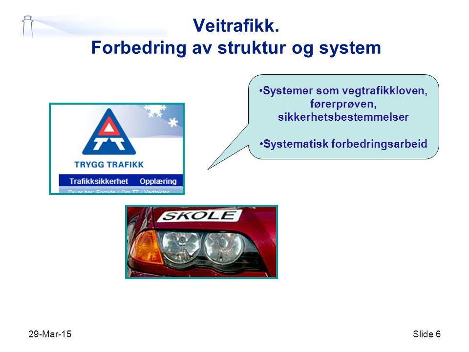 Veitrafikk. Forbedring av struktur og system