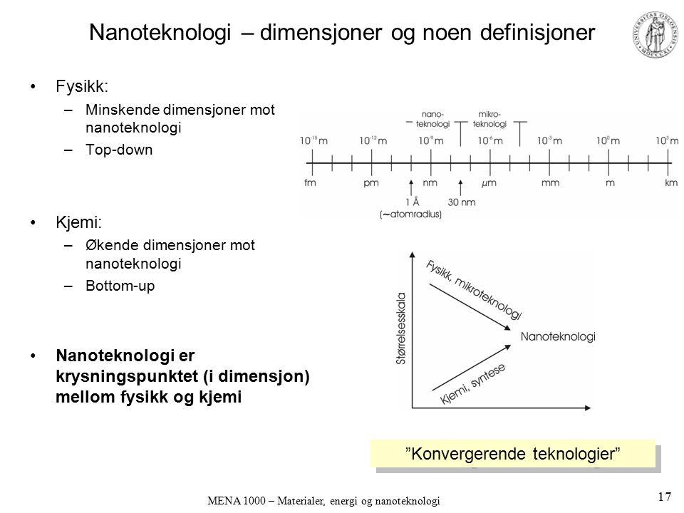 Nanoteknologi – dimensjoner og noen definisjoner