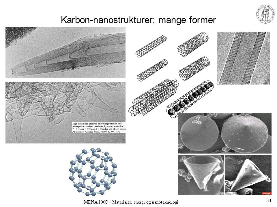 Karbon-nanostrukturer; mange former