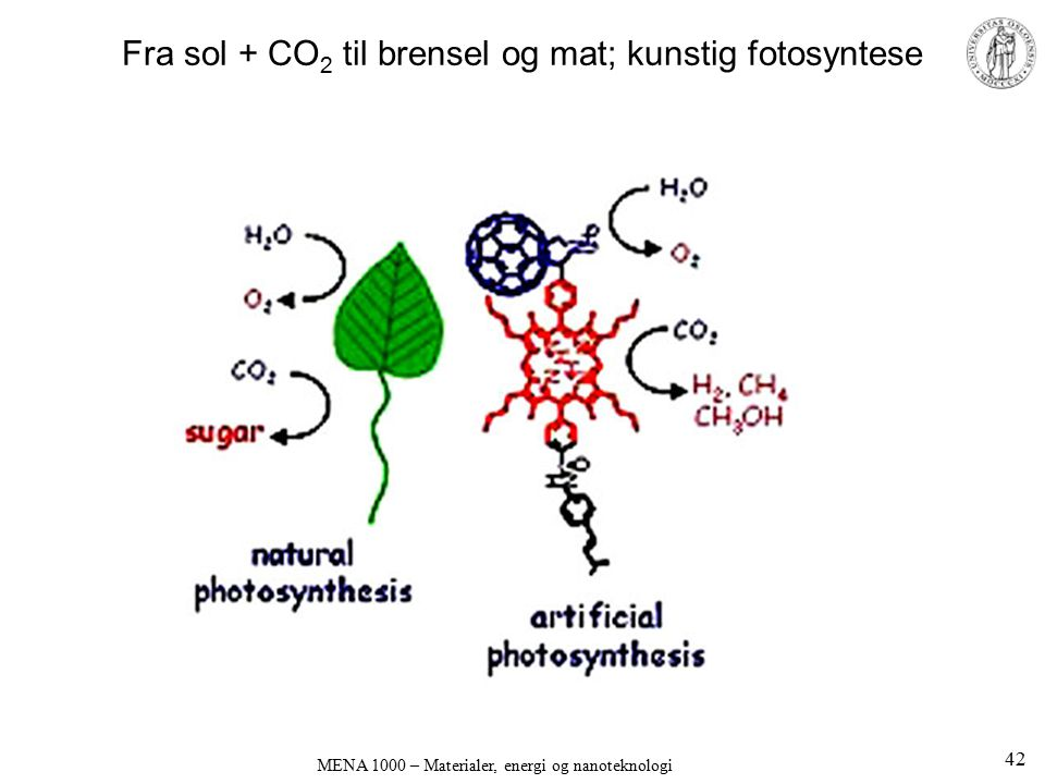 Fra sol + CO2 til brensel og mat; kunstig fotosyntese