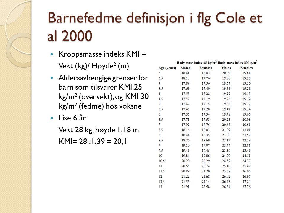 Barnefedme definisjon i flg Cole et al 2000