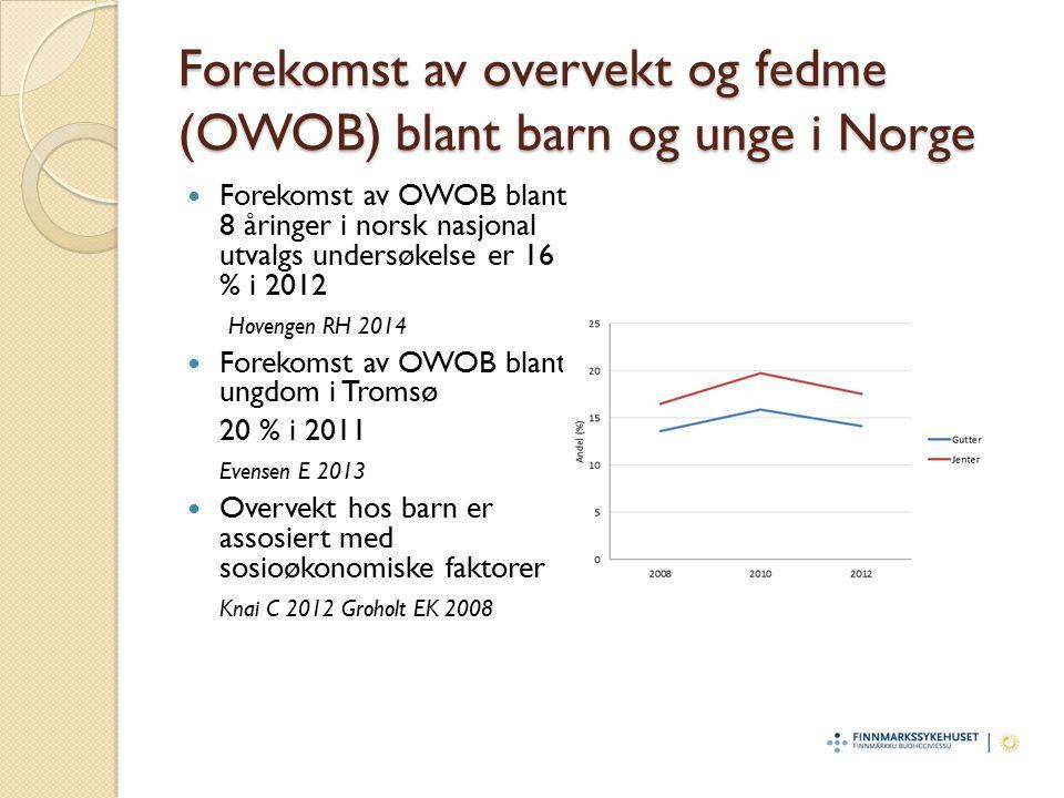 Forekomst av overvekt og fedme (OWOB) blant barn og unge i Norge