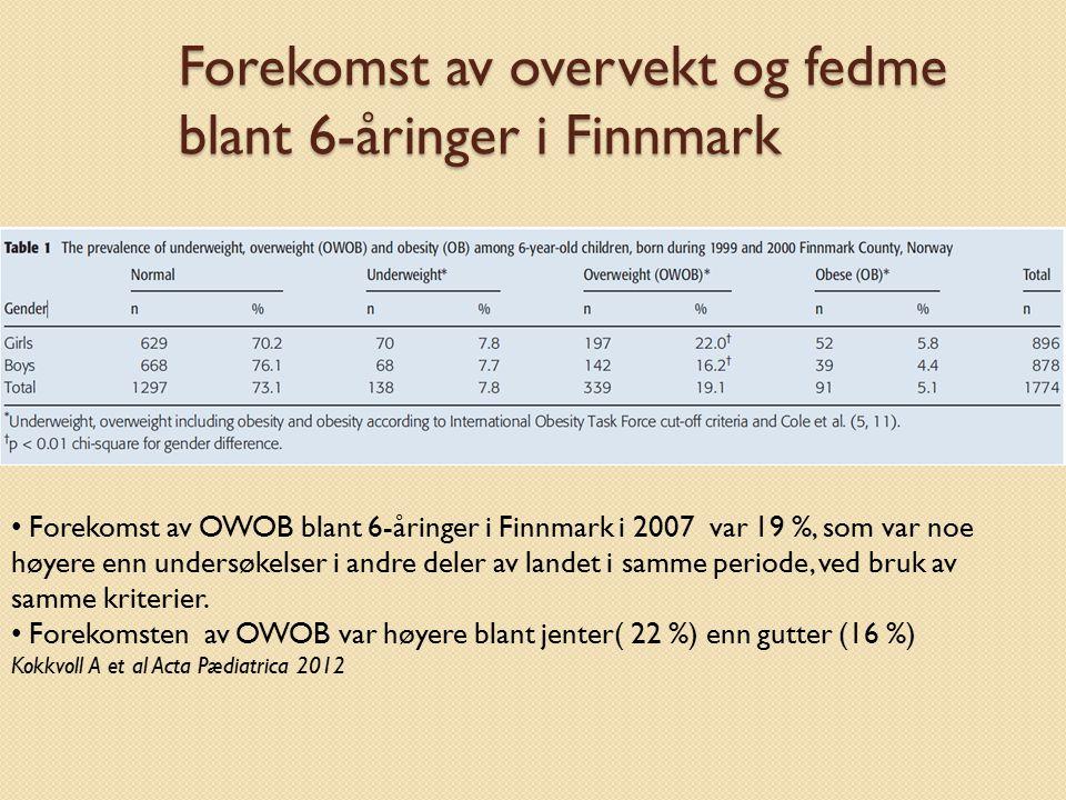 Forekomst av overvekt og fedme blant 6-åringer i Finnmark