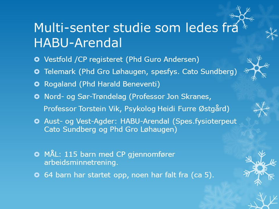 Multi-senter studie som ledes fra HABU-Arendal
