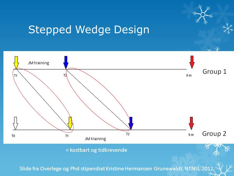 Stepped Wedge Design = kostbart og tidkrevende