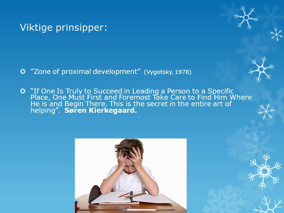 Viktige prinsipper: Zone of proximal development (Vygotsky, 1978)