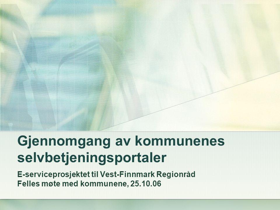 Gjennomgang av kommunenes selvbetjeningsportaler