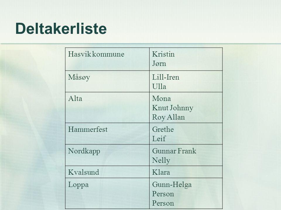 Deltakerliste Hasvik kommune Kristin Jørn Måsøy Lill-Iren Ulla Alta