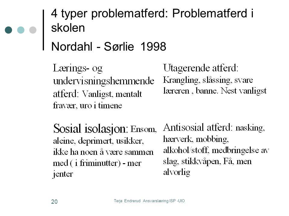 4 typer problematferd: Problematferd i skolen Nordahl - Sørlie 1998
