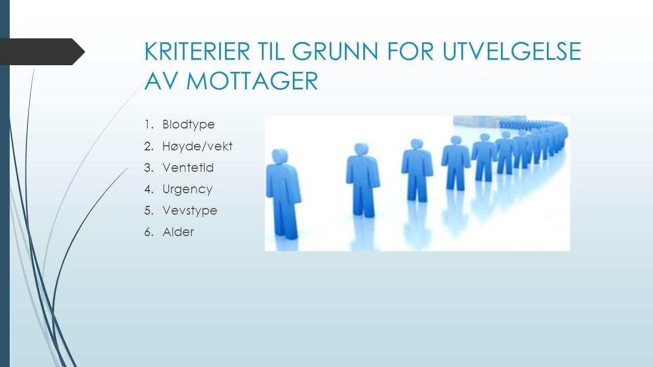 KRITERIER TIL GRUNN FOR UTVELGELSE AV MOTTAGER