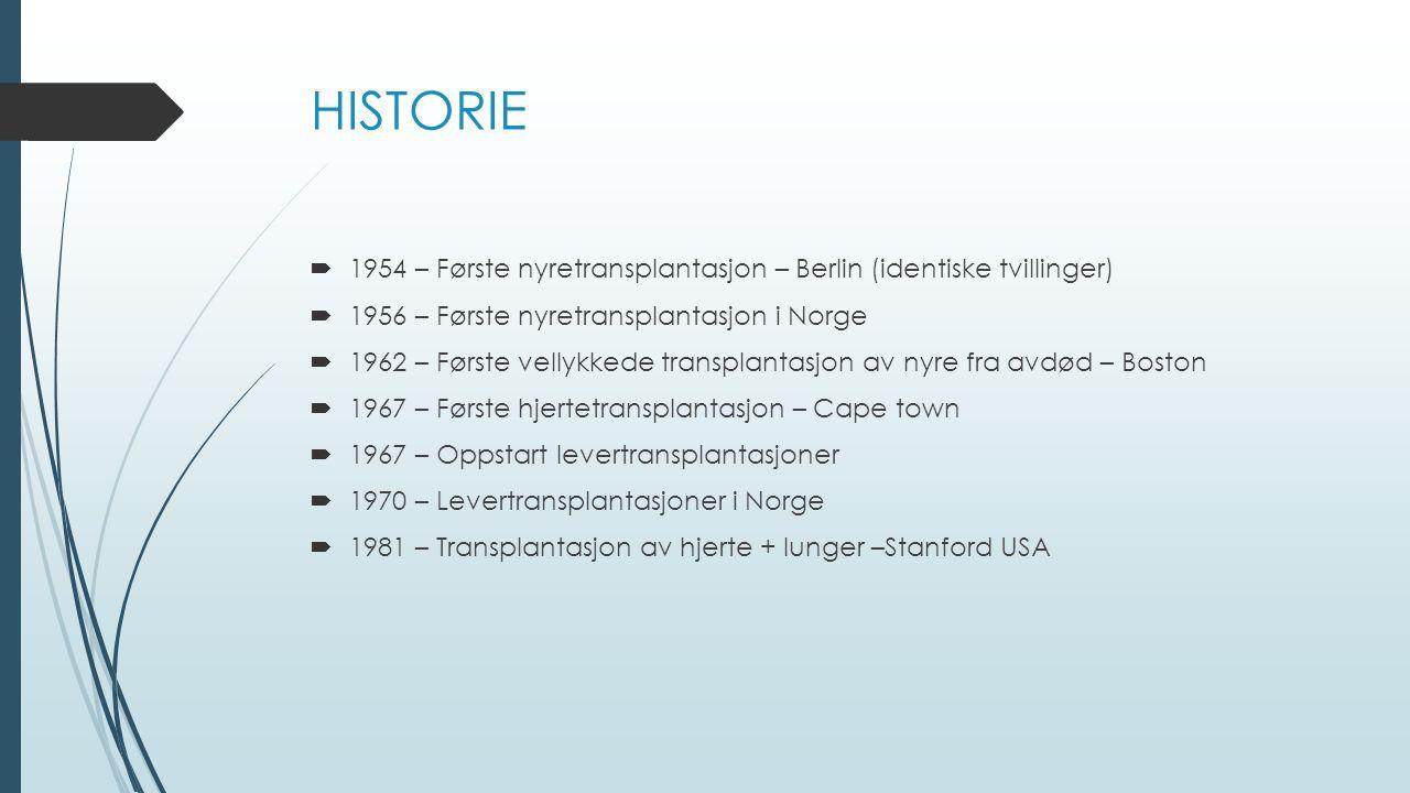 HISTORIE 1954 – Første nyretransplantasjon – Berlin (identiske tvillinger) 1956 – Første nyretransplantasjon i Norge.