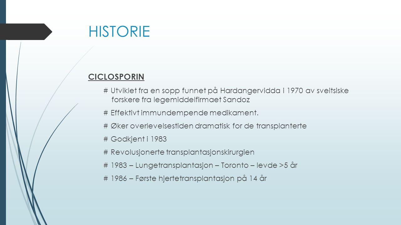 HISTORIE CICLOSPORIN. # Utviklet fra en sopp funnet på Hardangervidda i 1970 av sveitsiske forskere fra legemiddelfirmaet Sandoz.