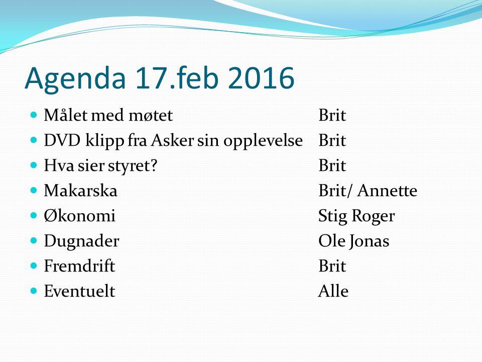 Agenda 17.feb 2016 Målet med møtet Brit