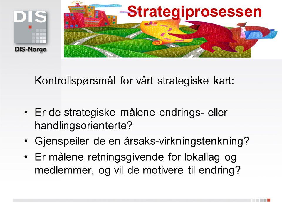Strategiprosessen Kontrollspørsmål for vårt strategiske kart: