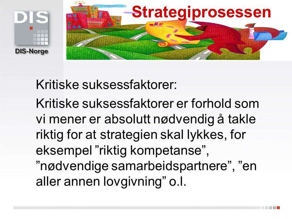 Strategiprosessen Kritiske suksessfaktorer: