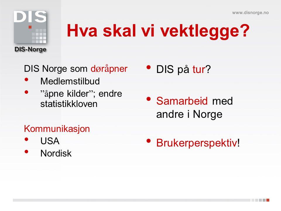 Hva skal vi vektlegge DIS på tur Samarbeid med andre i Norge