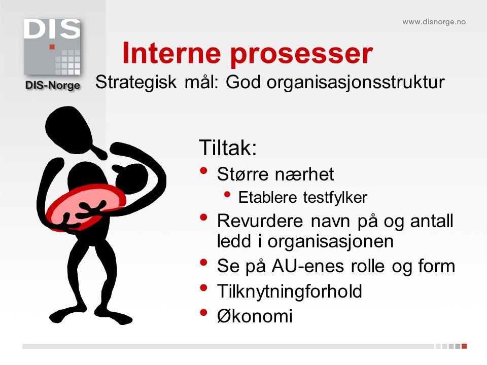 Interne prosesser Tiltak: Strategisk mål: God organisasjonsstruktur