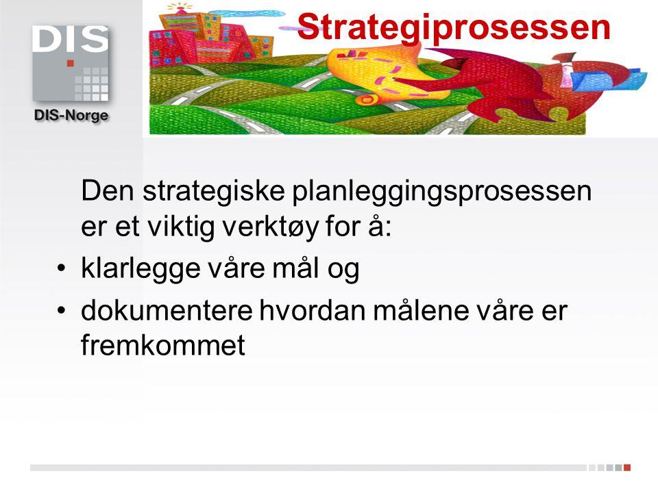 Strategiprosessen Den strategiske planleggingsprosessen er et viktig verktøy for å: klarlegge våre mål og.