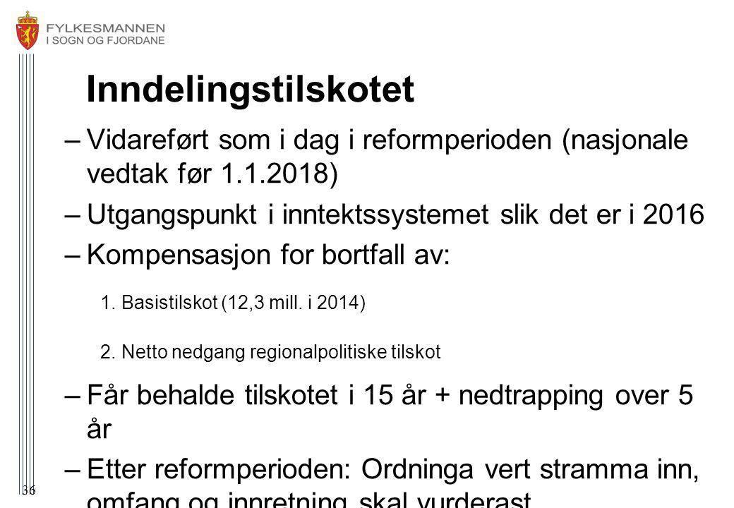 Inndelingstilskotet Vidareført som i dag i reformperioden (nasjonale vedtak før 1.1.2018) Utgangspunkt i inntektssystemet slik det er i 2016.