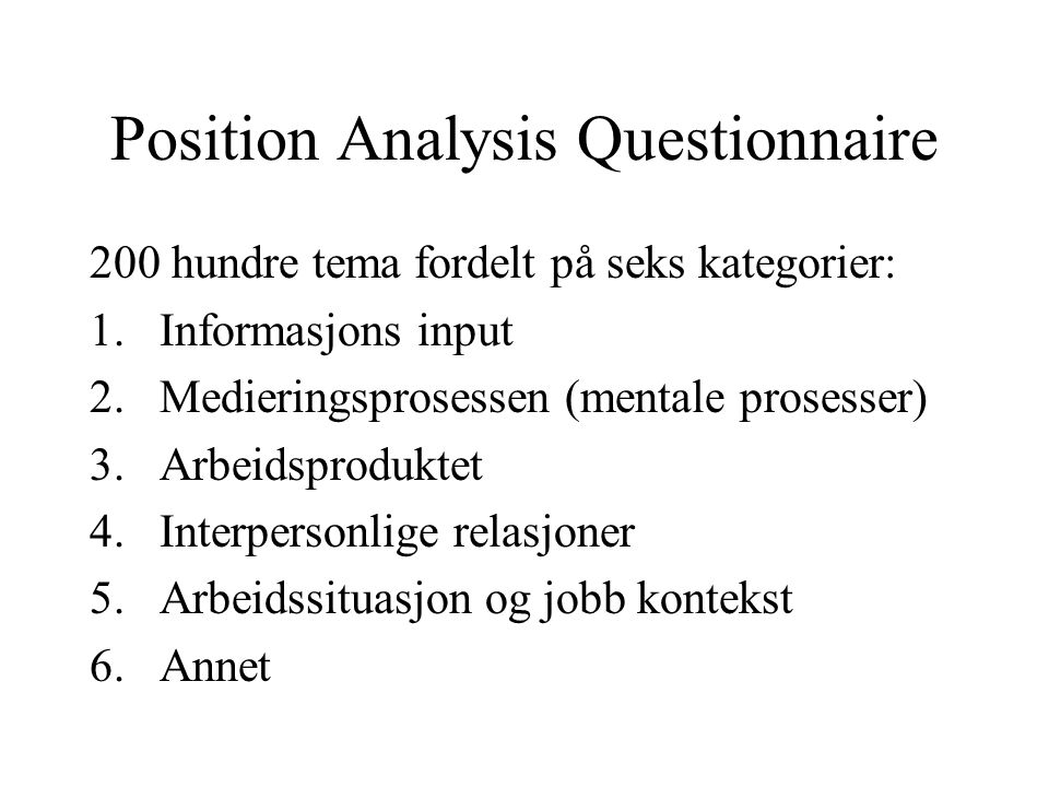 Position Analysis Questionnaire