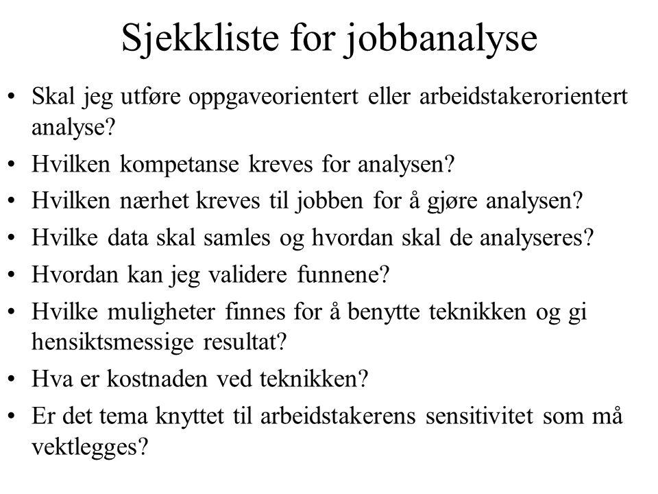 Sjekkliste for jobbanalyse