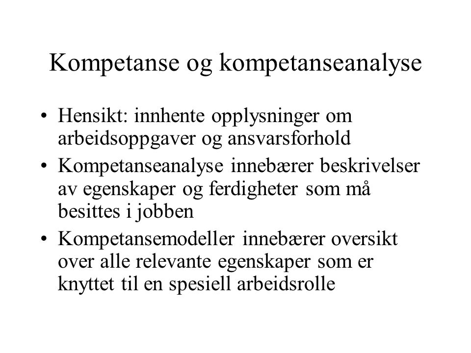 Kompetanse og kompetanseanalyse