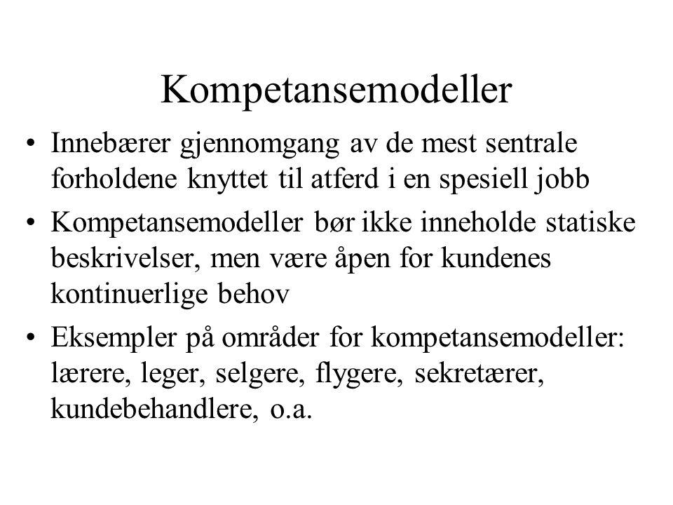 Kompetansemodeller Innebærer gjennomgang av de mest sentrale forholdene knyttet til atferd i en spesiell jobb.