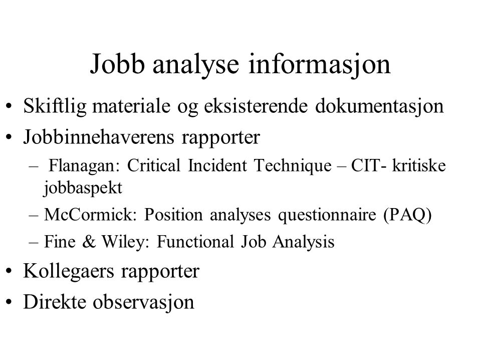 Jobb analyse informasjon