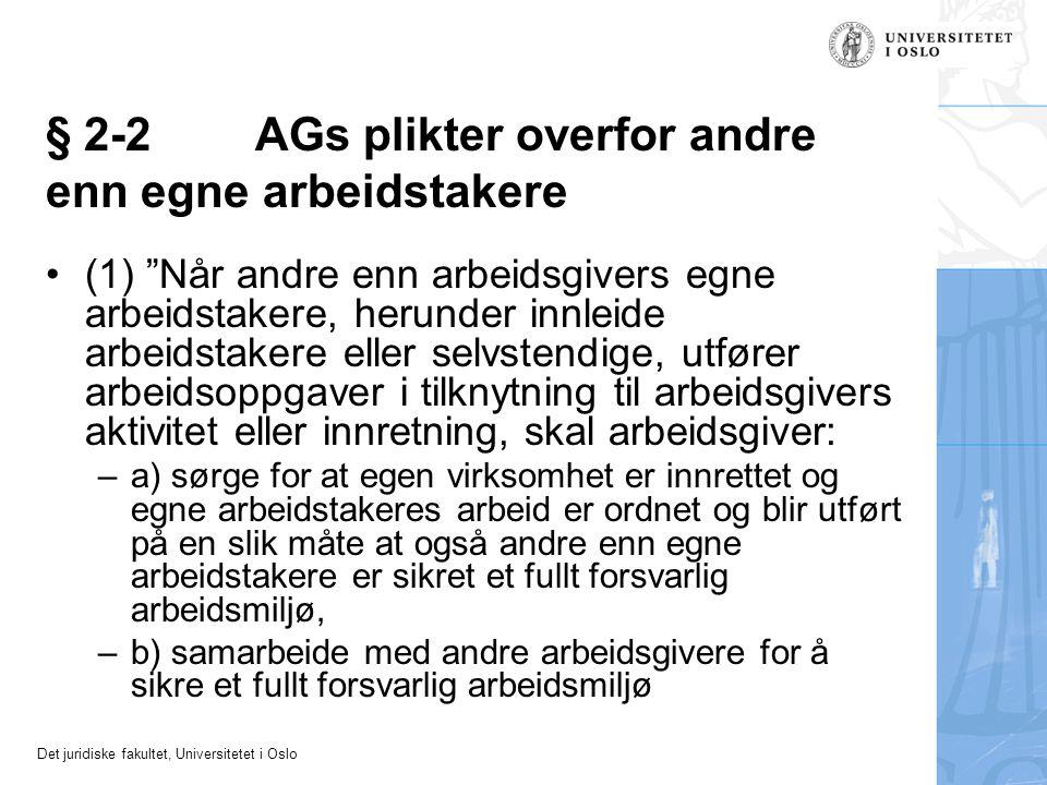 § 2-2 AGs plikter overfor andre enn egne arbeidstakere