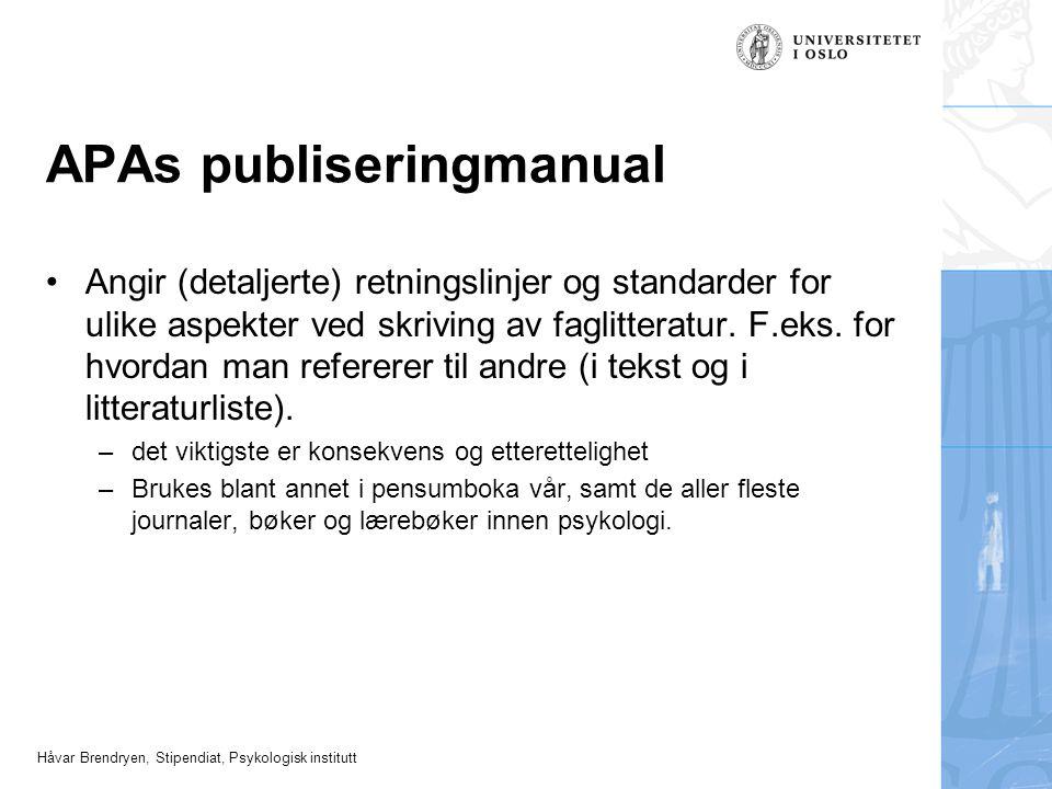 APAs publiseringmanual