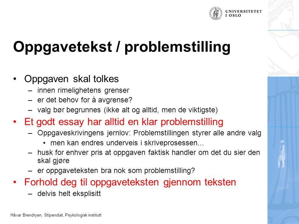 Oppgavetekst / problemstilling