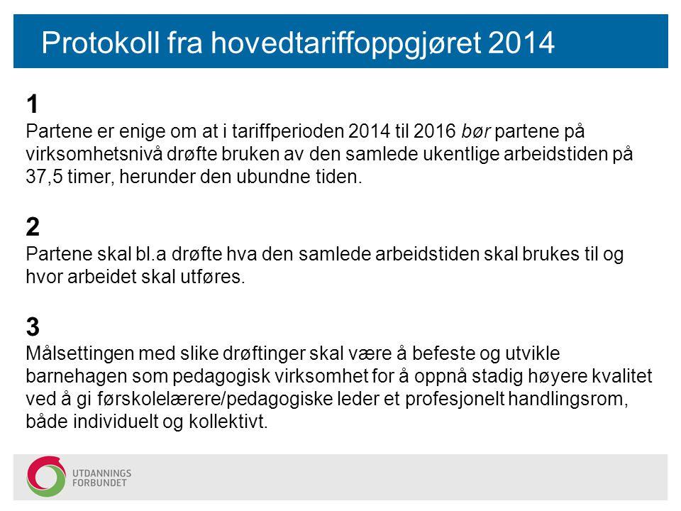 Protokoll fra hovedtariffoppgjøret 2014