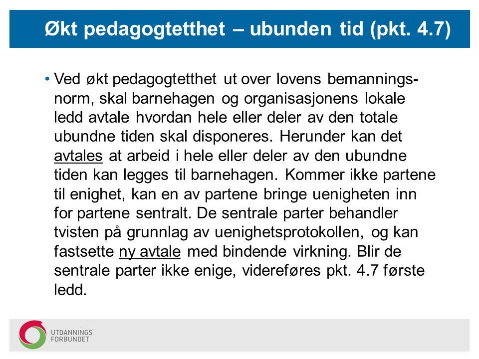 Økt pedagogtetthet – ubunden tid (pkt. 4.7)