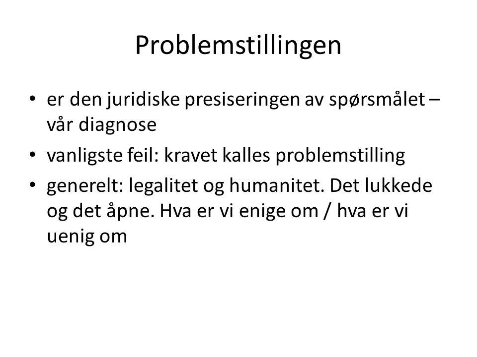 Problemstillingen er den juridiske presiseringen av spørsmålet – vår diagnose. vanligste feil: kravet kalles problemstilling.