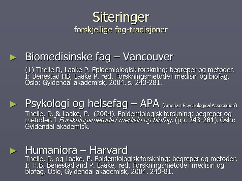 Siteringer forskjellige fag-tradisjoner