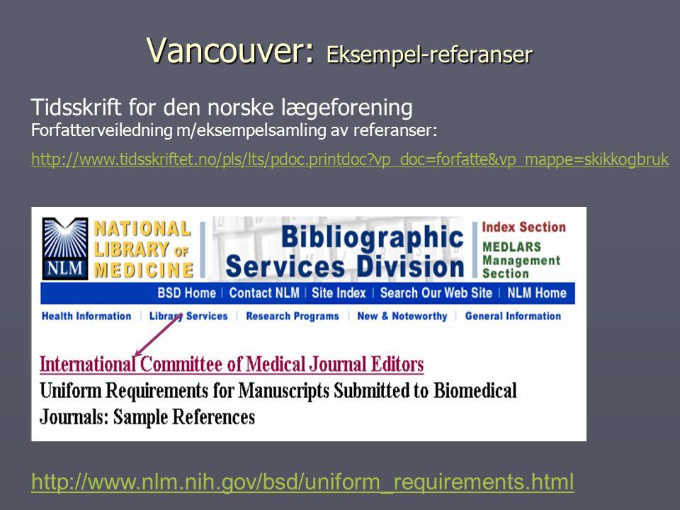 Vancouver: Eksempel-referanser