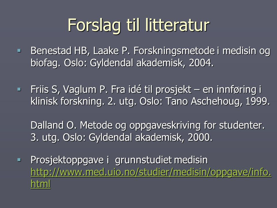 Forslag til litteratur
