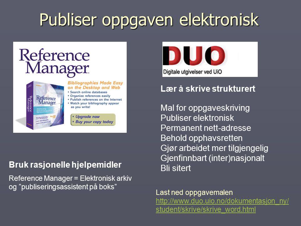 Publiser oppgaven elektronisk