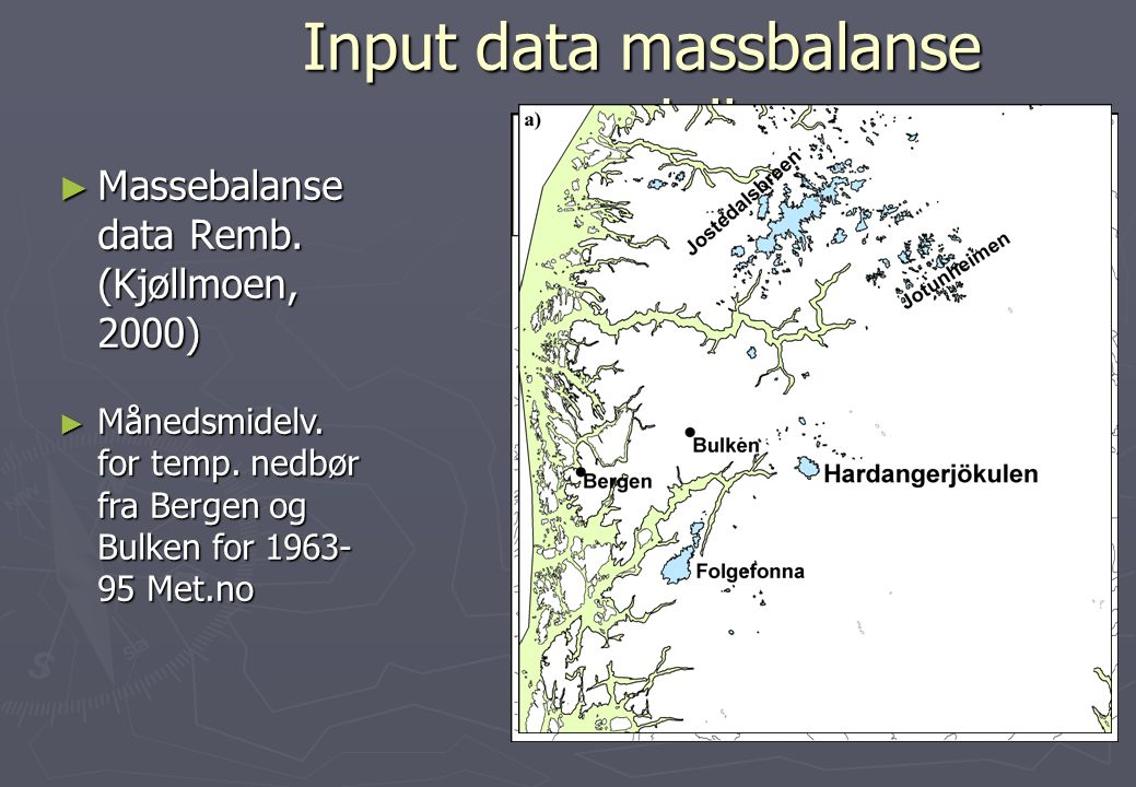 Input data massbalanse modell