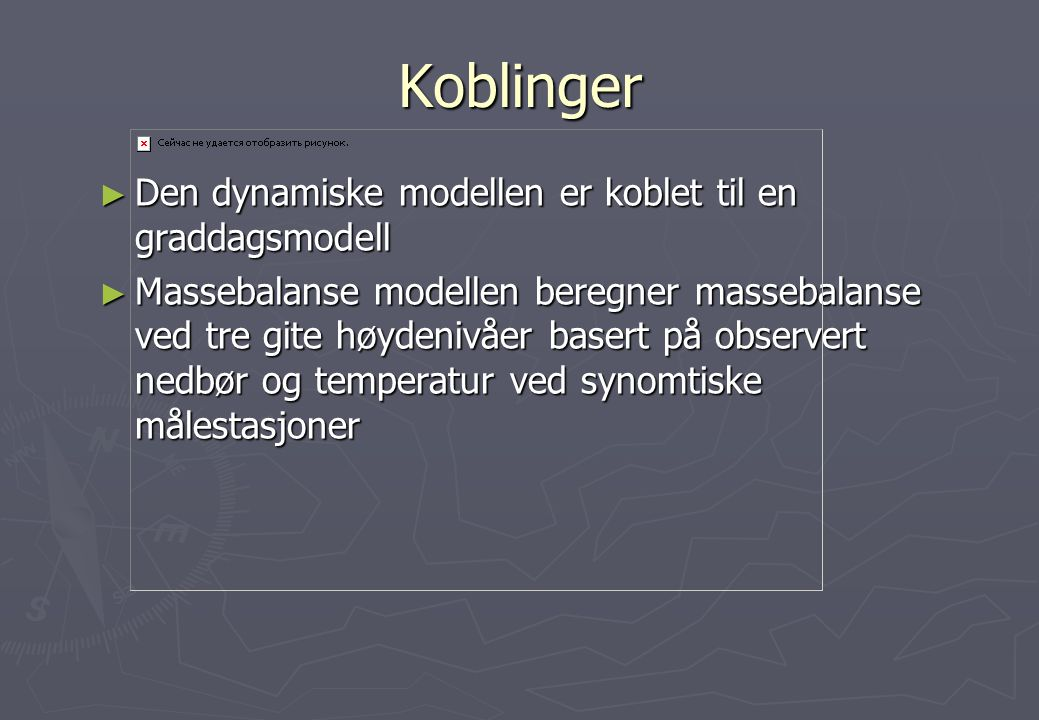 Koblinger Den dynamiske modellen er koblet til en graddagsmodell