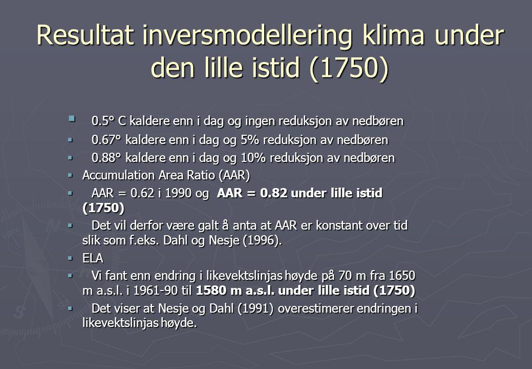 Resultat inversmodellering klima under den lille istid (1750)