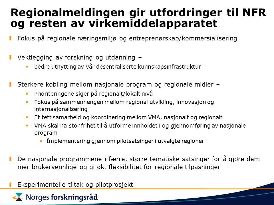 Regionalmeldingen gir utfordringer til NFR og resten av virkemiddelapparatet
