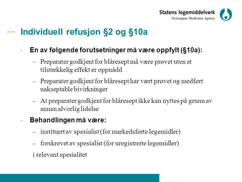 Individuell refusjon §2 og §10a